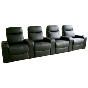 Cannes 4-Seat Leather Home Theater Seating - Black