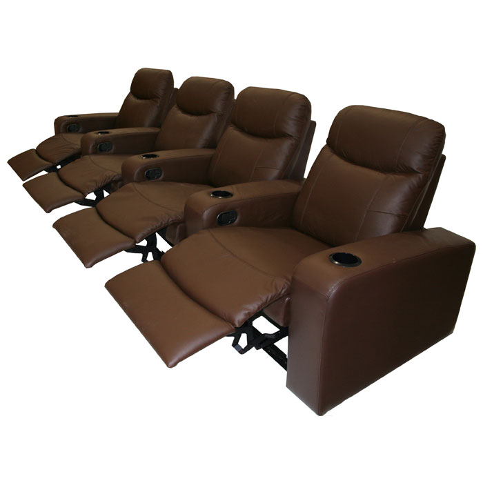 Cannes 4 Seat Leather Home Theater Seating Dcg Stores