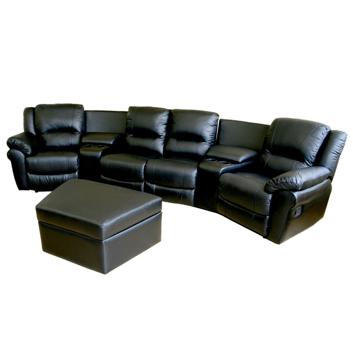 Majestic Curved Row Leather Home Theater Seating Black Dcg Stores