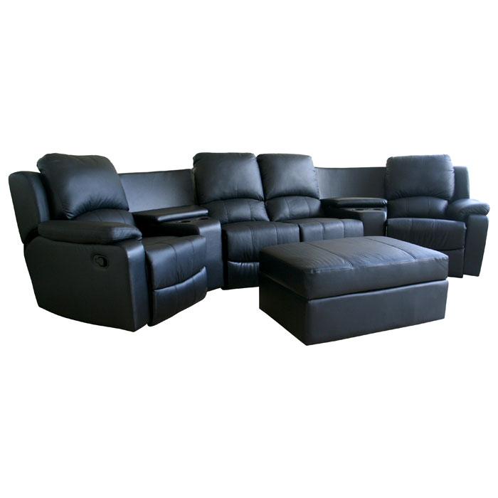 Paramount Curved Row Leather Home Theater Seating Black Dcg Stores
