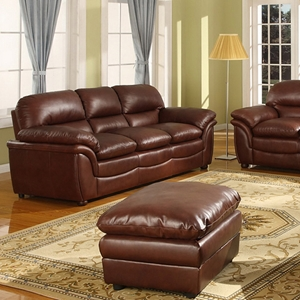 Redding Modern Sofa & Loveseat - Cognac Brown Leather