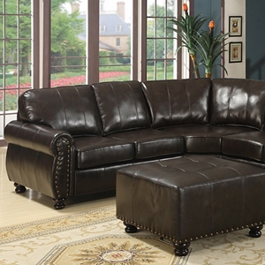 Hammond Sectional Sofa - Dark Brown Leather, Rolled Arms