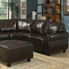 Hammond Sectional Sofa - Dark Brown Leather, Rolled Arms - WI-9178-4PC-SECTIONAL-SET