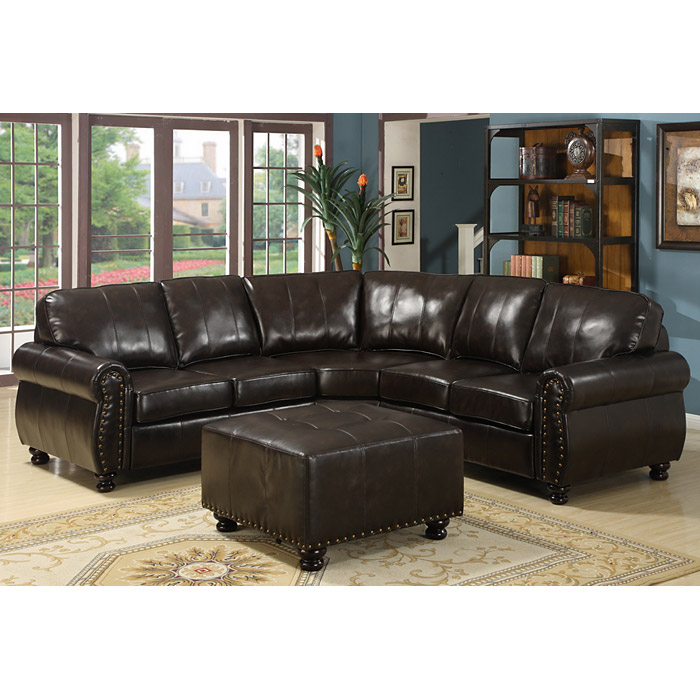 Hammond Sectional Sofa Set - Dark Brown Leather, Rolled Arms - WI-9178-4PC-SECTIONAL-SET