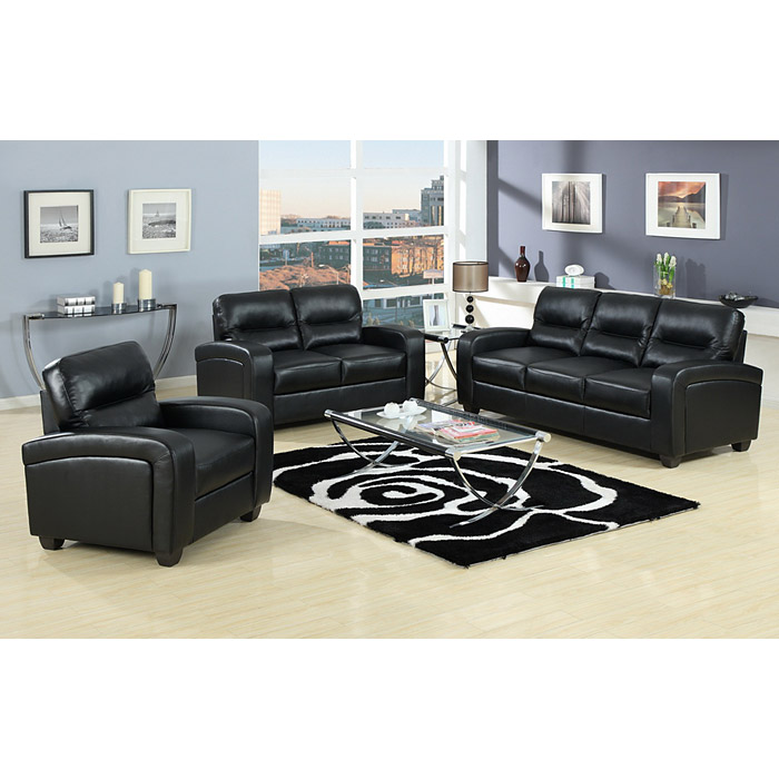 Duncan Modern Sofa & Loveseat - Black Leather - WI-9385-2PC-SOFA-LOVESEAT-SET