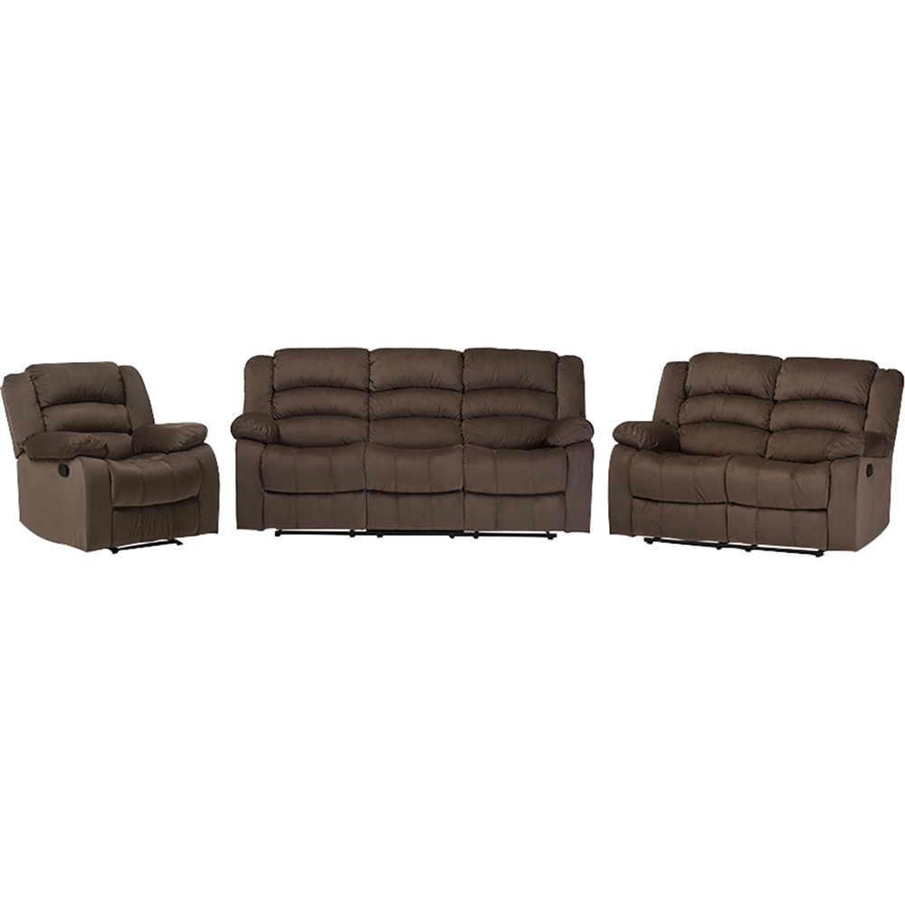 Hollace 3 Piece Microsuede Living Room Set Taupe Dcg Stores