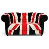 Union Velveteen Loveseat Chesterfield Style Brown Bun Feet Dcg