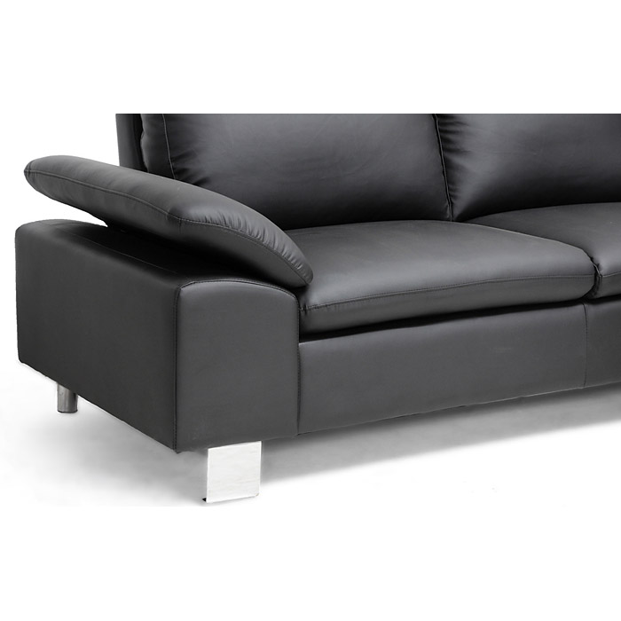 Toria Chaise Sectional Sofa - Black, Chrome Legs, Adjustable Arm - WI-A-071-SECTIONAL-BLACK-RFC