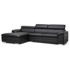 Franklin Chaise Sectional Sofa - Black, Adjustable Headrest