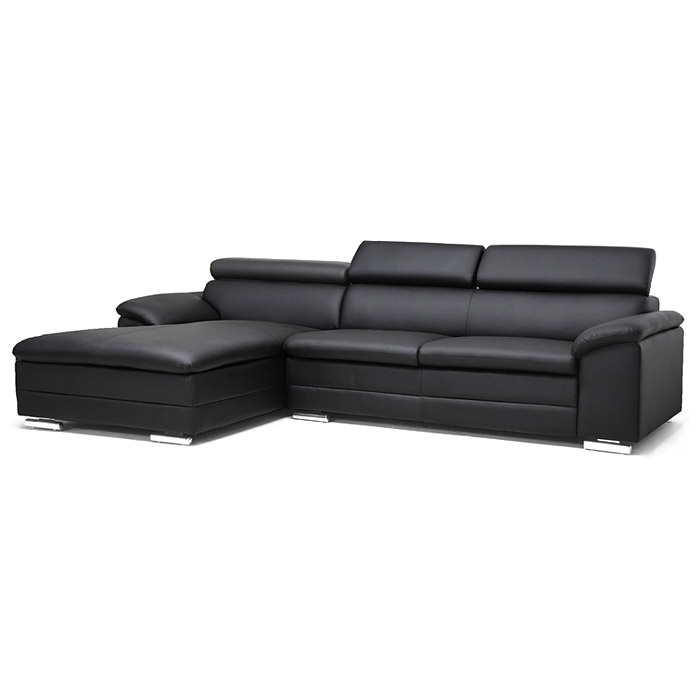 Franklin chaise sectional sofa black adjustable for Black sectional with chaise