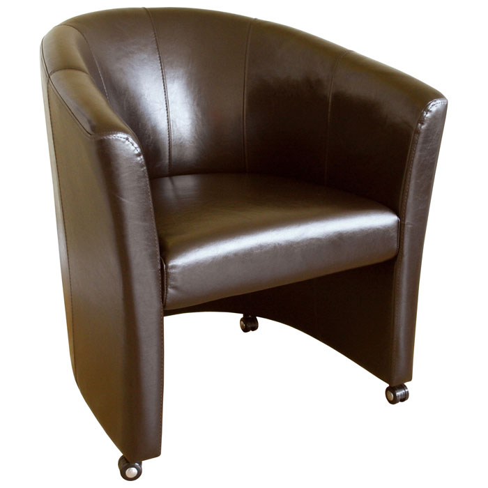 Somerset Full Leather Brown Club Chair With Wheels DCG Stores