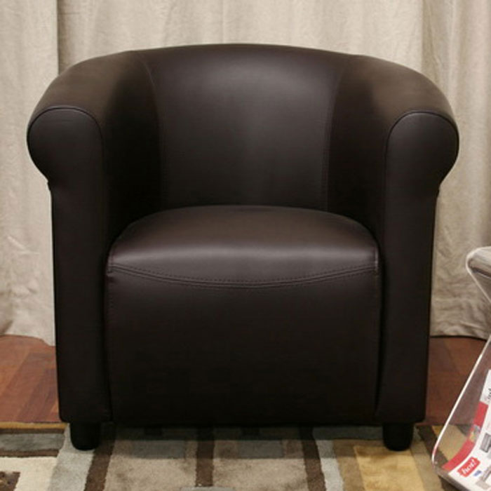 Lucille Curved Dark Brown Leather Club Chair - WI-A-176-206