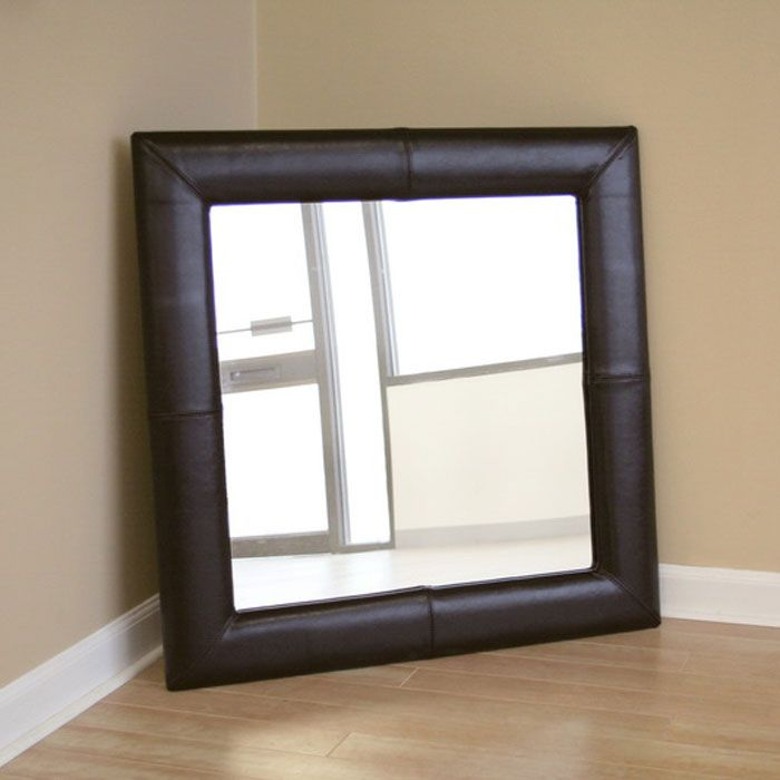 Harvey Square Espresso Brown Leather Mirror - WI-A-60-001-MIR