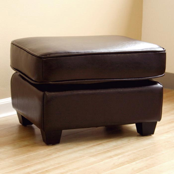 Anton Full Leather Ottoman in Dark Brown - WI-A-75-J001