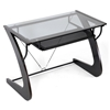 Sculpten Computer Desk - Tempered Glass, Sliding Keyboard Tray - WI-AA-2012-14-WENGE-DESK