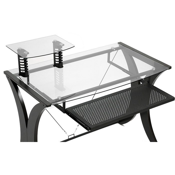 Xavier Computer Desk - Tempered Glass, Monitor Stand, CD Rack - WI-AA-2012-15-WENGE-DESK