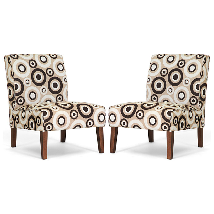 Davis Accent Chair Brown Wood Legs Circle Prints Set