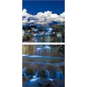 Cobalt Cascades Mounted Photography Print Diptych - Multicolor