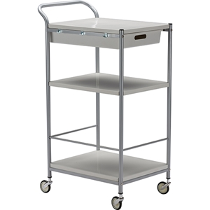 Bisanti 1 Drawer Trolley Cart - White, Chrome