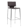Montclare 29.25'' Bar Stool - Chrome Frame, Brown Leather - WI-ALC-1083A-75-BROWN