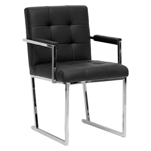collins mid century chair black leather chrome steel legs dcg stores. Black Bedroom Furniture Sets. Home Design Ideas