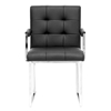 Collins Mid-Century Chair - Black Leather, Chrome Steel Legs - WI-ALC-1128-BLACK