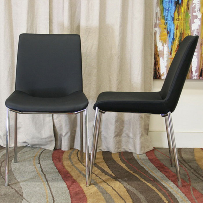 Fletcher Black Leather Modern Dining Chair - WI-ALC-1767