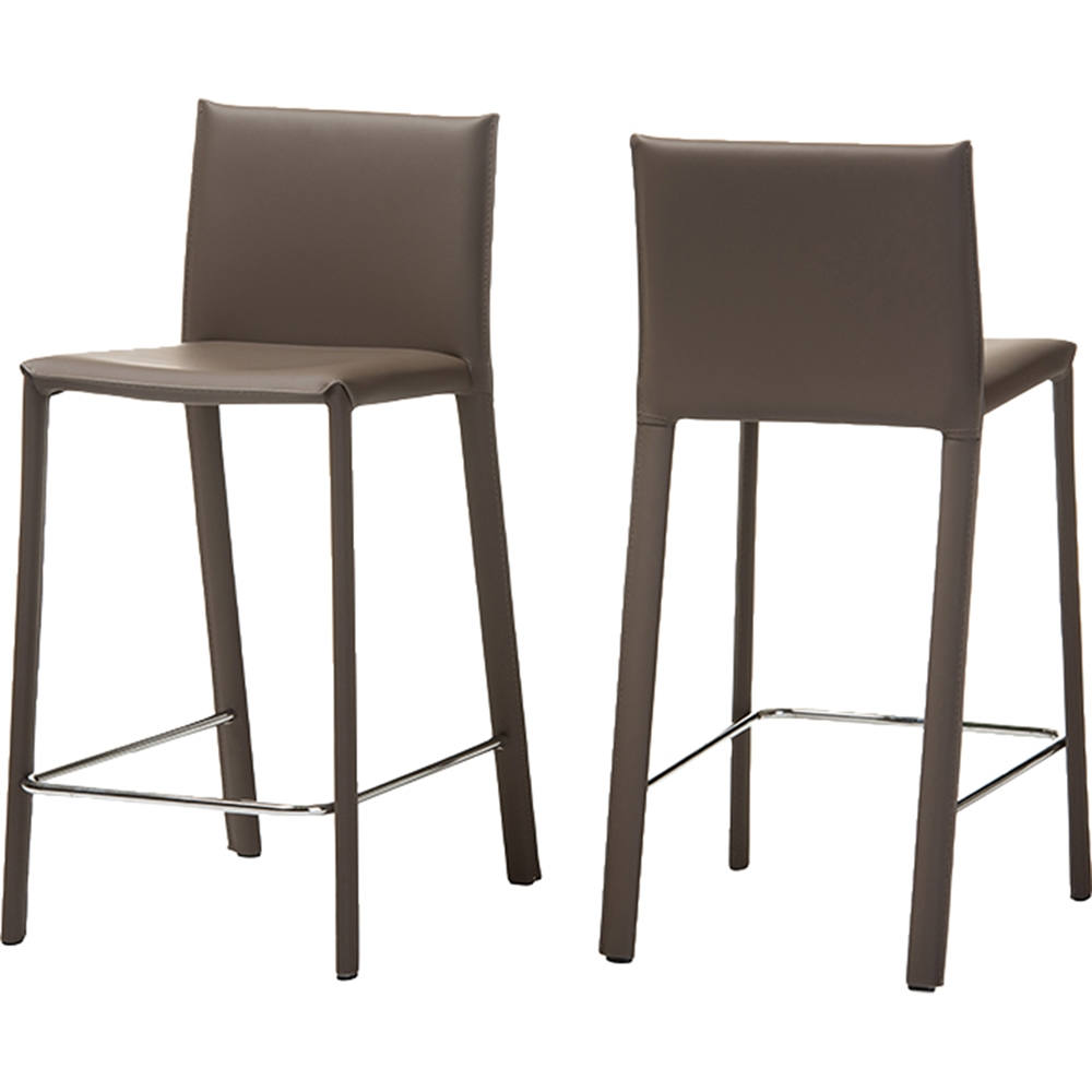 Crawford Leather Counter Height Stool Taupe Set Of 2