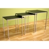 Deejay Black Leather Top Nesting Tables Set - WI-ALG-9014