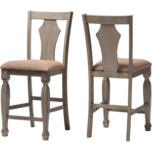 Arianna Counter Stool - Gray, Wheat Light Brown (Set of 2)