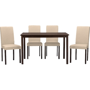 Andrew Contemporary 5-Piece Dining Set - Espresso Wood, Beige Fabric