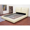 Athena Cream Leather Queen Platform Bed - WI-B-75-693-QUEEN