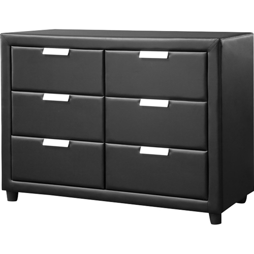 Pageant Faux Leather 6 Drawers Dresser Black Dcg Stores