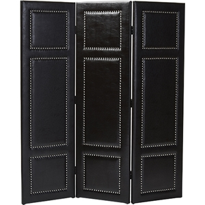 Rochelle 3-Panel Faux Leather Folding Screen - Dark Brown