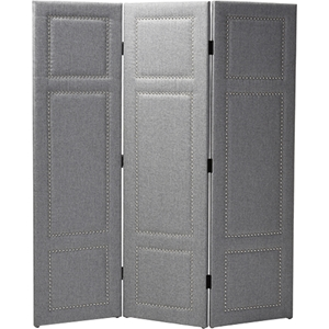Rochelle 3-Panel Faux Leather Folding Screen - Gray