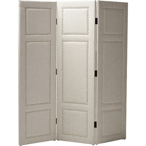 Rochelle 3-Panel Faux Leather Folding Screen - Light Beige