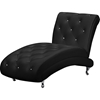 Pease Faux Leather Chaise Lounge Crystal Button Tufted Black
