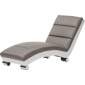 Percy Upholstered Chaise Lounge - Gray, White