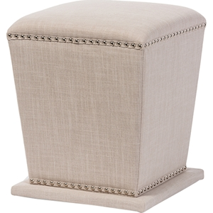 Beverly Fabric Upholstered Ottoman Stool - Nailhead, Beige
