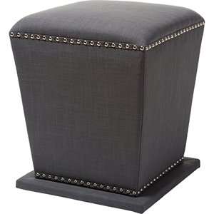 Beverly Fabric Upholstered Ottoman Stool - Nailhead, Gray