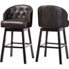 Avril Faux Leather Swivel Barstool - Nailhead, Button Tufted, Brown (Set of 2) - WI-BBT5210A1-BS-BROWN