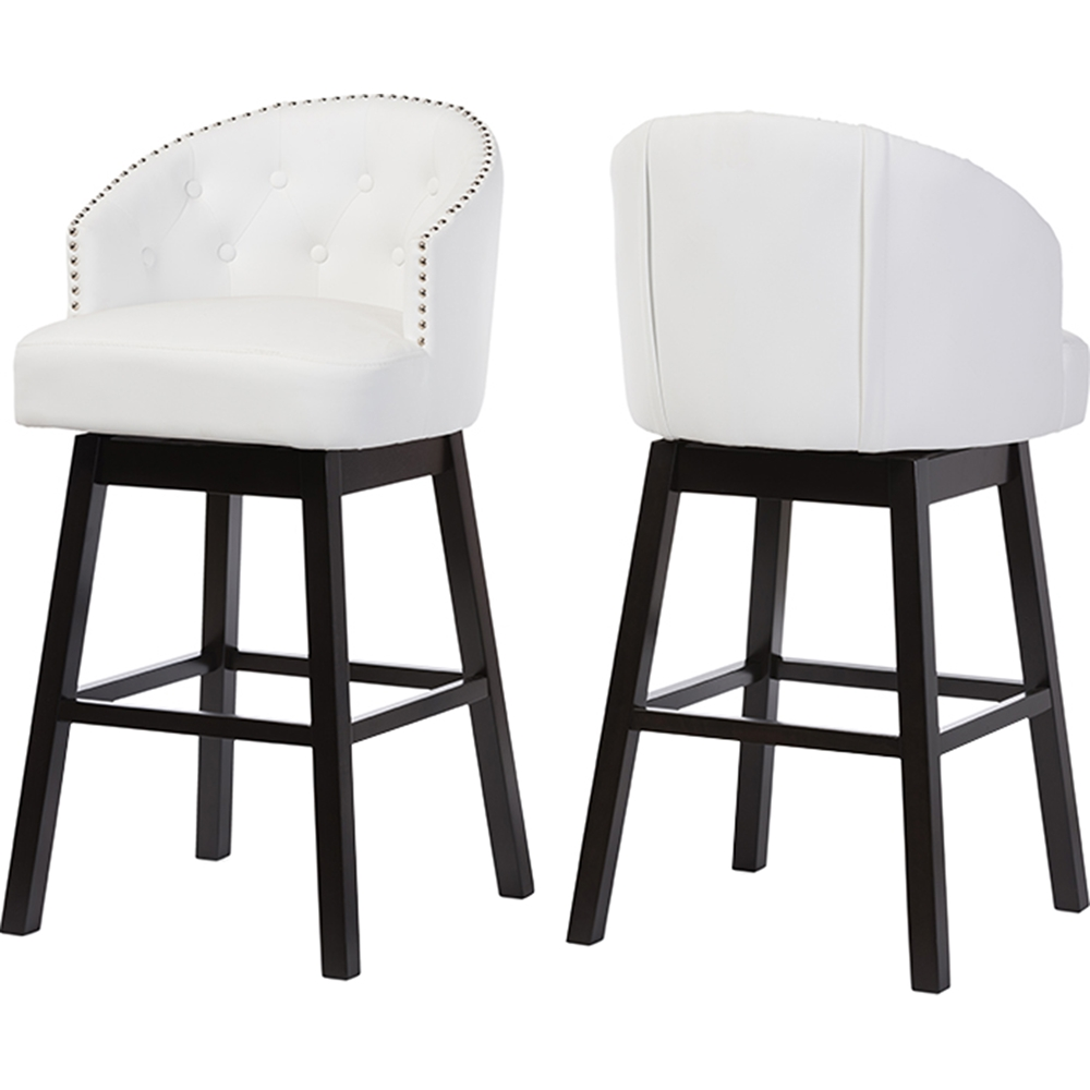 Avril Faux Leather Swivel Barstool Nailhead Button