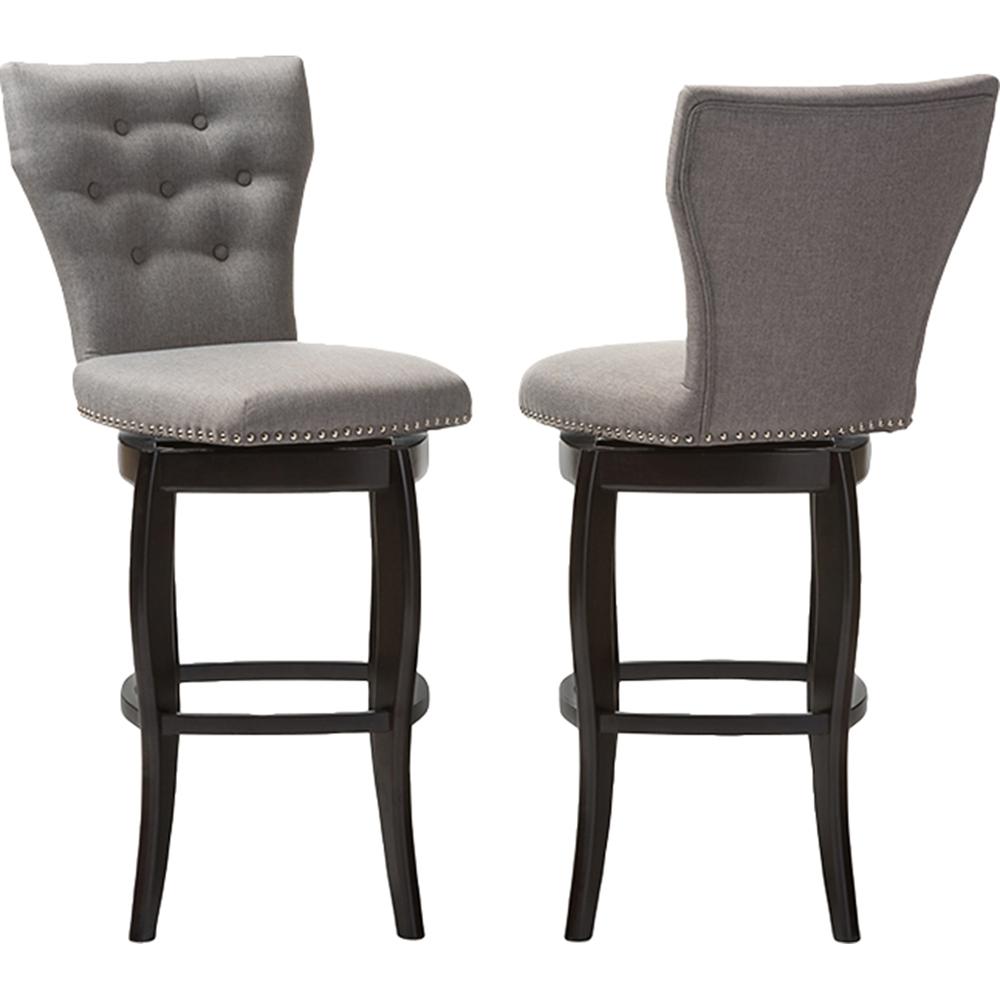 Leonice Upholstered Swivel Bar Stool Button Tufted Gray