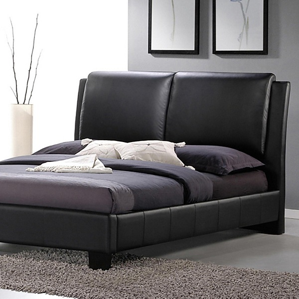 sabrina queen size platform bed overstuffed headboard black wibbt6082 black
