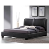 Sabrina Queen Size Platform Bed - Overstuffed Headboard, Black - WI-BBT6082-BLACK-BED