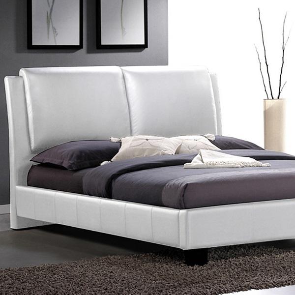 Sabrina King Size Platform Bed - Overstuffed Headboard, White | DCG ...