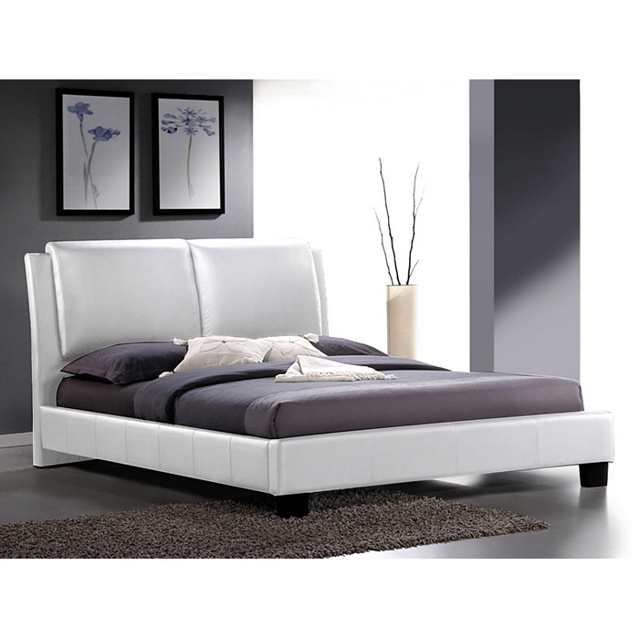 sabrina king size platform bed overstuffed headboard white