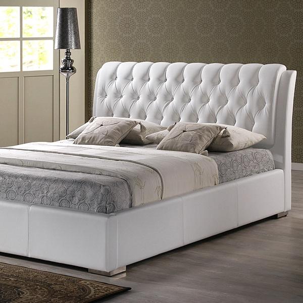 Bianca Queen Platform Bed Diamond Tufts Metal Legs