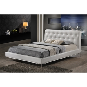 Panchal King Platform Bed - Tufted, White