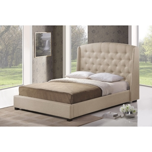 Ipswich Linen Platform Bed - Button Tufted, Light Beige